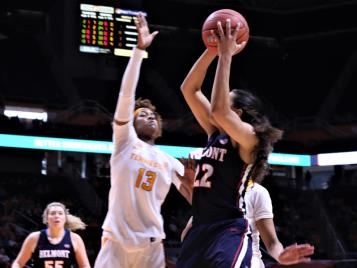Chattanooga-native, and the first Lady Vol signed from the River City, Jazmine Massengill (13), has announced her intention to enter the player transfer portal and leave the Tennessee program. Massengill is shown above in a game against Belmont from the 2017-2018 season.