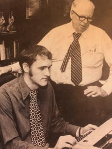 John Wilson, seated, with Roy McDonald at the Chattanooga News-Free Press in 1977