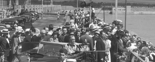 President Franklin D. Roosevelt, whose car was making its way from the train station to Chickamauga Dam, for the dam's dedication in 1940