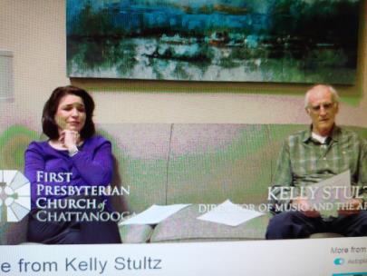 Kelly Stultz with choir president Steve George in video announcing that she is stepping down