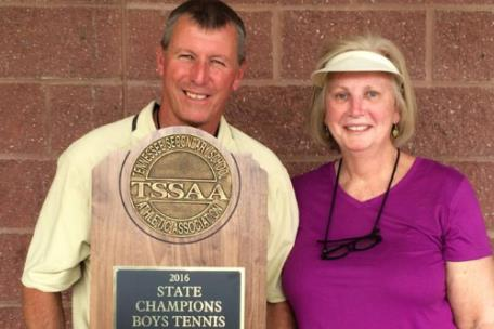 Lynn Griffith is shown with wife, Dianne, following Lipscomb Academy's victory in the 2016 Class A-AA TSSAA Boys' Tennis state championship