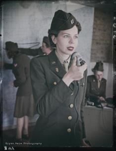 Ms. Sampson participates in living history events across the nation, portraying a range of Women's Army Corps impressions. This photo was part of the Memphis Belle exhibit grand opening at the National Museum of the U.S. Air Force.