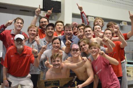 The Baylor boys swimming and diving team celebrates thir 2020 TISCA state championship.