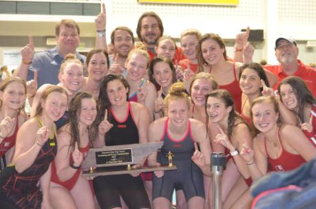 The Baylor girls swimming and diving team celebrates their 2020 TISCA state championship.