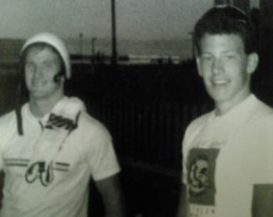 Rick Crawford, left, with Lance Armstrong in the 1980s