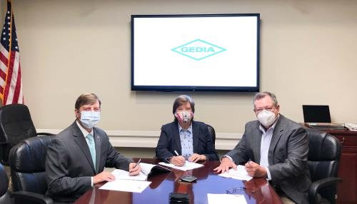 Signing a memorandum of understanding with GEDIA Automotive Group,  a new advanced manufacturing facility coming to Whitfield County by the third quarter of 2021, are (from left) Carl Campbell, executive director, Dalton-Whitfield Joint Development Authority; Lynn Laughter, chairman, Whitfield County Board of Commissioners; and Kevin Harris, chairman of the JDA.