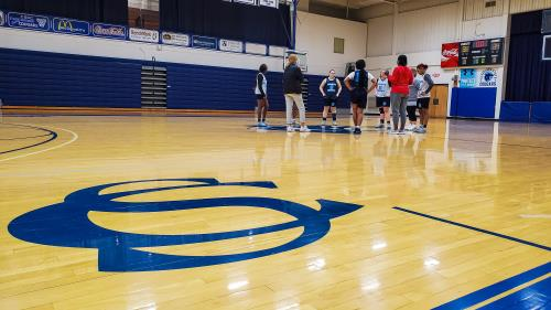 The Lady Cougars wrap up a Friday mid-day practice in L. Quentin Lane Gymnasium. This home of men's and women's basketball and women's volleyball at Cleveland State Community College will be operating under new guidelines in Spring 2021. Among the policies in place for CSCC athletic facilities will be no fan attendance through February.
