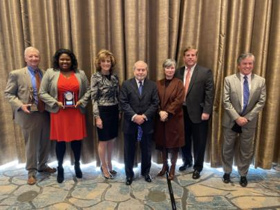 "From left, William G. ""Bill"" Colvin – Albert L. Hodge Volunteer of the Year Award; Ariel Anthony – Young Lawyer Division Volunteer of the Year Award; Lynda Minks Hood - executive director, Chattanooga Bar Association; John Harrison – CBA Board president 2020; Misty L. Harris – Harry Weill Zealous Practice of Law Award; Steven M. Jacoway – President's Award; and Joseph R. ""Joe"" White"
