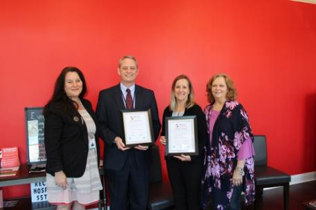 Pictured, from left to right: Kelly Brownlow and Randall Stephens from Mayfield Elementary School; Misty Allen, State Farm; and Sherry Crye, Cleveland/Bradley Chamber of Commerce
