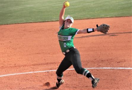 East Hamilton's Syerra Rogers winds to deliver to the plate in a Monday afternoon game against visiting McMinn Co. Rogers went seven innings, striking out 16, to lead the Lady Canes to a 9-4 win over the Lady Cherokees.